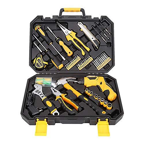 Werkzeugsatz, Universale Werkzeugkoffer Werkzeugkasten 95 Stücke Handwerkzeug Kit Für Zuhause 3,6 V Mini Akkuschrauber Steckschlüssel Schraubendreher Messer Toolbox