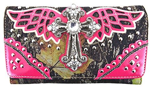 Blancho Biancheria da letto delle donne [Ala Croce] PU Leather Bag Set Elegante Portafoglio Hanbag Comobo Fashion Bag fucsia Wallet-Fuchsia