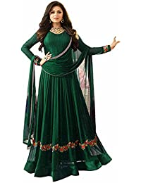 AnK Women's Green Georgette Embroidered Anarkali Semi Stitched Salwar Suit