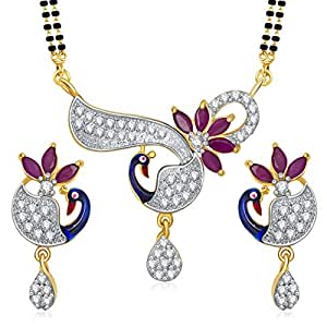 Meenaz Peacock American Diamond Ruby Gold Meenakari Mangalsutra Set For Women Mspt183