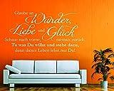Wandtattoo Glaube an Wunder Liebe und Glück in verschiedenen Größen und Farben (190 x 97 cm, weiß)