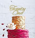 LissieLou Twenty One Cake Topper - 21st Glitter Gold Cake Topper - Swirly Font