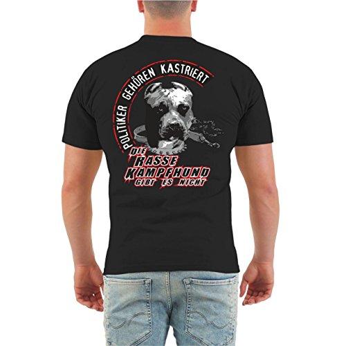 Männer und Herren T-Shirt Die Rasse Kampfhund gibt es nicht (mit Rückendruck) Größe S - 8XL Schwarz