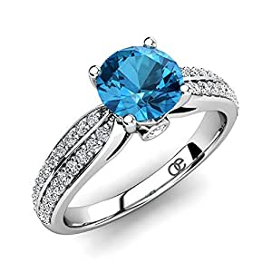 Moncoeur Ring Promise Blue Topaz + Women Engagement Rings 925 Sterling Silver + Blue Topaz Wedding Bands + Promise Rings For Women + Swarovski Promise Rings + Perfect Fit + Luxury Gift Box (I 1/2)