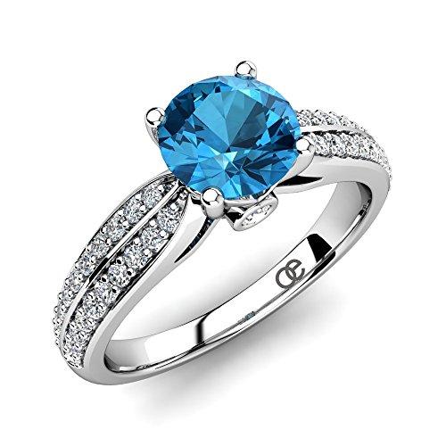 Moncoeur Verlobungsring Promise Blau Topas + Verlobungsringe 925 Sterling Silber + Silberring Blauem Topas Ring Swarovski Kristalle + Damen Ringe Silberringe +...