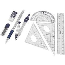 SODIAL(R) 8 en 1 Juego de Papeleria Transportador Compas 15cm Regla Recta con Caja