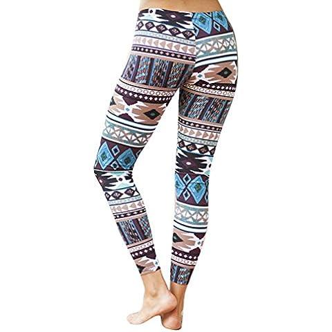 Vovotrade impresos pantalones elásticos de las polainas (D, L)