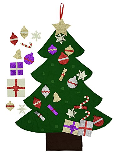Mushy Moments Filz Weihnachtsbaum. Glitter Edition Leben Größe, Wand oder Tür hängen, 30 abnehmbare Glitzer (Kinder Stern Uk Kostüm)