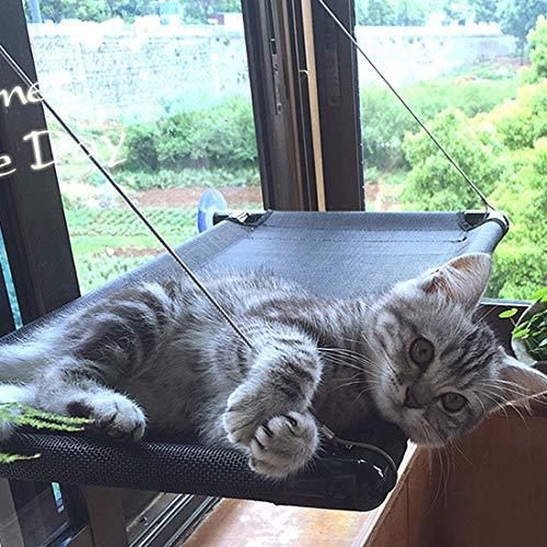 Zhyaj Katzenfenster HäNgematte Katzen Sonnenbad Katzenbett Haustier Bequemes Stillstehendes Sonnenlicht Fensterbrett-KlettergerüSt Sicheres Sicheres 68 × 37CM Kann 15KG Tragen