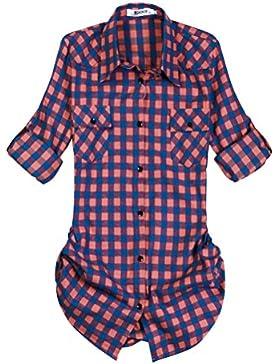 OCHENTA Camisas Casuales - Manga Larga - Franela a Cuadros - Hombres