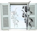 XXL Fenstertattoo ~ Pflanze, Baum, Blumenranke mit Schmetterling ~ glas018-57x140 cm 600050 Aufkleber für Fenster, Glastür und Duschtür aus Glas, Fensterbild, wasserfeste Glasdekorfolie in Sandstrahl - Milchglas Optik
