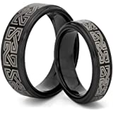 His & Her's 8MM/6MM Tungsten Carbide Black Celtic Greek Wedding Band Ring Set (Available Sizes H - Z+2) EMAIL US WITH YOUR SIZES
