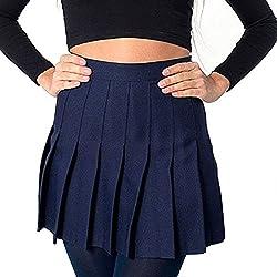 Yying Minifaldas Plisadas con Cintura Alta de Mujer Falda Escolar Skater de niñas patineta Navy XL