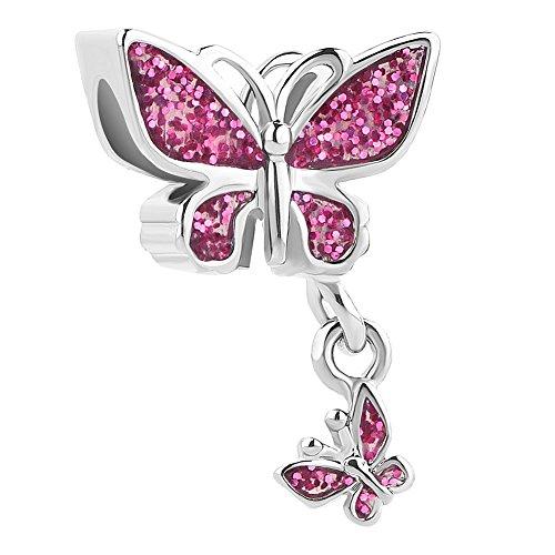 Uniqueen charm a forma di farfalla grande con farfalla piccola (madre-figlio), per bracciali, ideale per san valentino e rame, colore: pink, cod. uq_dpc_my843