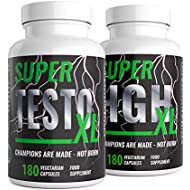 Super Testo XL & Super HGH XL - 360 Capsules -3 Month Supplement Bundle Testosterone Support Supplement | Ingredients Contribute to Normal Testosterone Levels & Reduction in Fatigue | Trusted Brand