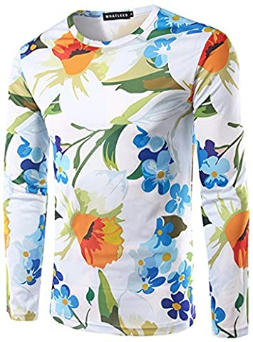 Whatlees men's t-shirt with long sleeves white flowers fashionable slim silhouette slim high quality spring and