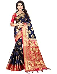 SAARAH Kanchipuram Art Silk with Blouse Piece Saree (N4092DB_Dark Blue_Free Size)