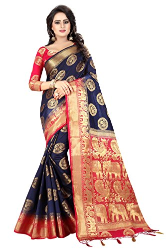 SAARAH Women Kanjivaram Art Silk Saree (N4092DB, Dark Blue)