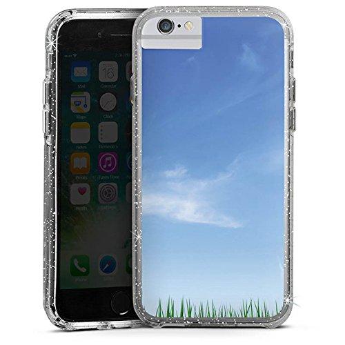 Apple iPhone X Bumper Hülle Bumper Case Glitzer Hülle Wiese Horizont Gras Bumper Case Glitzer silber