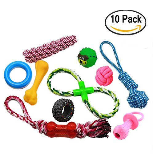 10-Pack Variety Dog Rope Toys by Plush Pets for Small And Medium Dogs Includes Bonus Dog Treat. Frisbee Available In Pink, Blue and Green.