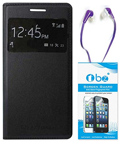 TBZ S-View Flip Cover Case for Samsung Galaxy Grand 2 with Earphone and Screen Guard -Black  available at amazon for Rs.479