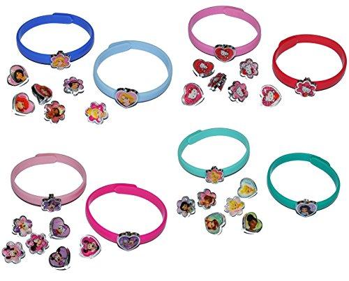 Armband mit 16 Deko Aufstecker - Hello Kitty + Princess + Minnie Mouse + Tinkerbell - für Kinder Mädchen Schmuck Kinderarmband - Katze Kinderschmuc.. ()