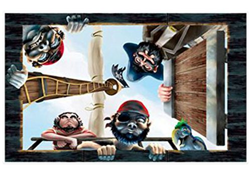 starbakery - Party Dekoration Wand Deko - Piraten - 1 Stück, 157 x 96cm, Mehrfarbig