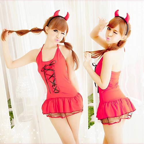 (New Halloween Little Devil Women's Sexy Underwear Uniform Sexy Red Maid Maid Kostüm)