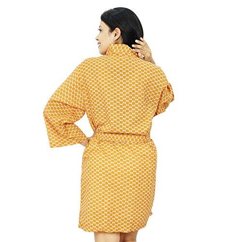 Les Femmes Portent Obtenir Robe De Coton Demoiselle Robes Ocre jaune et blanc cassé