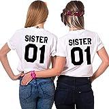 JWBBU Best Friends Sister T-Shirt mit Aufdruck Halb-Herz für Zwei Damen Mädchen Sommer Weiß Schwarz Oberteil Geburtstagsgeschenk 2 Stücke (Sister-M+L, Weiß-Sister)