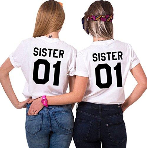 Best Friends Sister T-shirt mit Aufdruck Halb-Herz für zwei Damen Mädchen Sommer Weiß Schwarz Oberteil Geburtstagsgeschenk 2 Stücke JWBBU® (sister-S+XL, Weiß-sister)