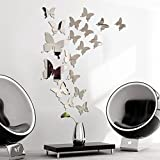 Alicemall 3D Mirror Butterfly Wall Stickers PVC Self-Adhesive Office Home Decoration Wall Decal for Living Room Bedroom Kitchen 12 PCS of a Set