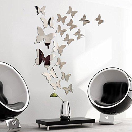 Adesivi da Parete a Farfalla 3D a Specchio 3D Adesivo Autoadesivo ...