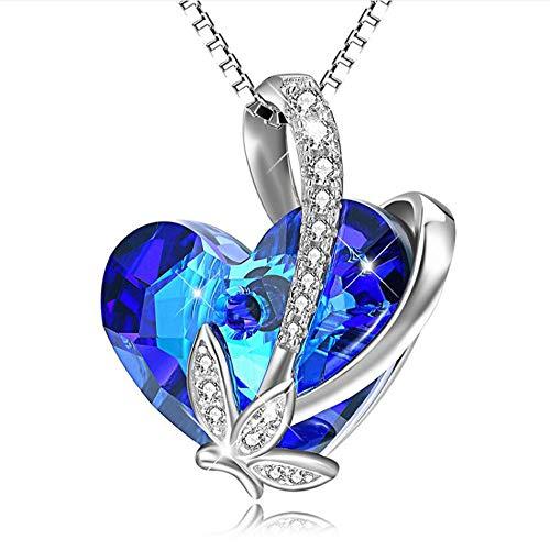 Gstrand ciondolo collana 925 sterling silver cristallo swarovski a forma di cuore e foglia di moda principessa, san valentino 18