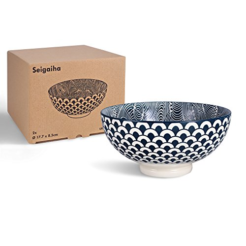 2 bols à ramen en porcelaine avec motif vagues japonais Blanc/Bleu - Bol à nouilles bleu/blanc Seigaiha