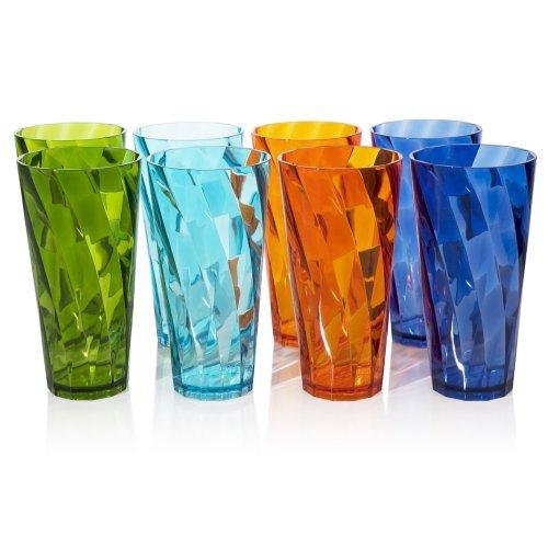 8pc Optix Bruchfest restaurant-quality Kunststoff Tasse Becher in 4verschiedenen Farben, plastik, mehrfarbig, 0,5 kg