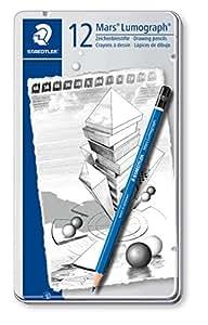 Staedtler - Mars Lumograph 100 - Boîte Métal 12 Crayons Graphite Assortis (6B/5B/4B/3B/2B/B/HB/F/H/2H/3H/4H)