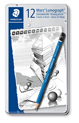 Staedtler Mars 100 G12 Zeichenbleistift Lumograph, Sechskantform, unglaublich bruchfeste Premium-Bleistifte, hohe Qualität, 12 Härtegrade, Metalletui