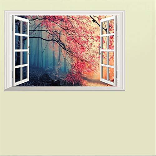 Mddjj 3D Stereo Fensteransicht gefälschte Fenster Wandaufkleber Landschaft Sofa Hintergrund Tv Diy Wohnzimmer Poster Wandbild Home Decor Kinderzimmer