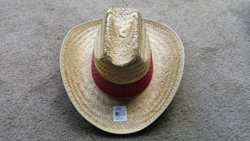 Fun Express Cowboy Stroh Bast Erwachsene Mütze Pinch Top W/Rot Tuch Print Hutband L/XL (Express Hats Western)