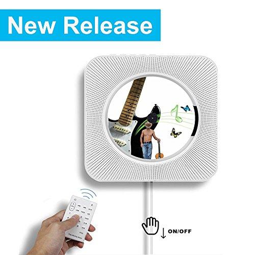 Bluetooth-CD-Player, Alice Dreams Wand montierbar HiFi Lautsprecher Radio mit Fernbedienung USB MP3 3,5 mm Kopfhörer-Buchse AUX Eingang/Ausgang,weiß (Weiß)