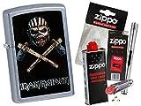Zippo Iron Maiden Book Of Souls mit Zippo Zubehör Auswahl und L.B Chrome Stabfeuerzeug (mit Zubehör B)