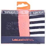 Superdry Damen Slip Dreierpack LOLALACE Navy Coral Stripe, Größe:S