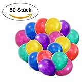 50 Metallic Luftballons - Helium geeignete Herz-Luftballons - Qualitätsware - Ballons für Hochzeit, Valentinstag, Geburtstag uvm. (50, Metallic - Rot, Grün, Gelb, Blau, Rosa, Lila)