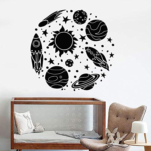 ljjljj Vinyl Wandtattoo Rakete Astronaut Cartoon Sun Space Planeten Wandaufkleber Für Kinderzimmer Abnehmbare Nusery Home Decor 42x44 cm