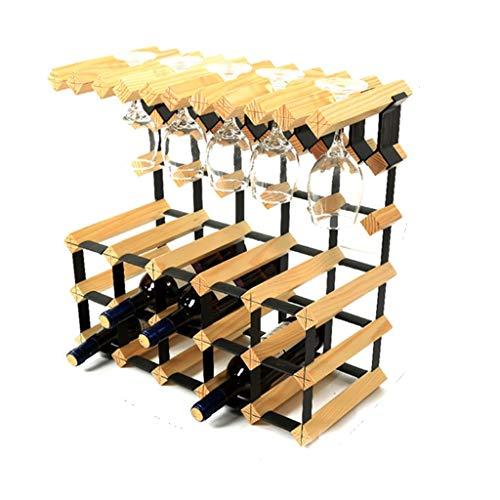 ZHAS 3 Tier freistehende Weinflasche Holzfass 15 Flaschen hängen 10 Weingläser Weinregal Stehen Metall Stahl Holz Schrank Flaschenhalter Veranstalter Arbeitsplatte für Küche zu Hause (Farbe: Holz - Holz Schrank Veranstalter