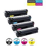 4 DOREE Cartuchos de tóner Compatible con HP CF410X-CF413X Color Laserjet Pro M452 dn/dw/nw M470 M477 fdn/fdw/fnw M450 M377 dw - Negro 6.500 páginas, Colors 5.000 páginas