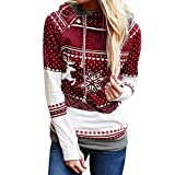 Tianwlio Damen Winter Langarmshirt Hoodie Pullover Mode Weihnachten Reißverschluss Punkte Drucken Tops Kapuzenpullover Pullover Bluse T-Shirt Wein M