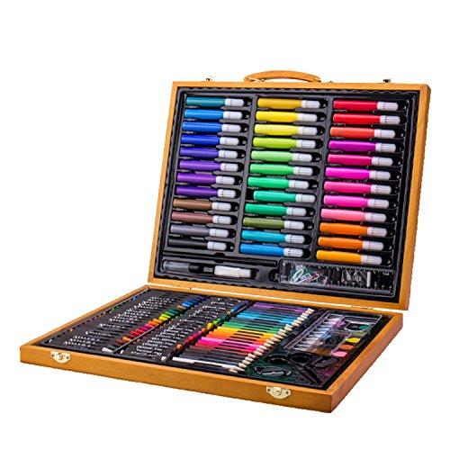 Mallette Artiste en Bois avec Chevalet pour enfants Crayons de couleurs et feutres 150 pièces