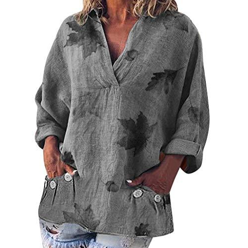 Zolimx Damen Leinenblusen,Frauen Lose V-Ausschnitt BläTter Drucktaschen Langarm Leinen T-Shirt Top Bluse